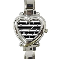 Tribal Stripes Black White Heart Italian Charm Watch by Mariart