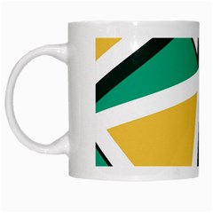 Triangles Texture Shape Art Green Yellow White Mugs by Mariart