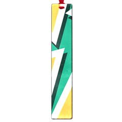 Triangles Texture Shape Art Green Yellow Large Book Marks by Mariart
