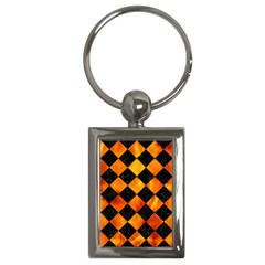Square2 Black Marble & Fire Key Chains (rectangle)  by trendistuff