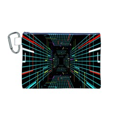 Seamless 3d Animation Digital Futuristic Tunnel Path Color Changing Geometric Electrical Line Zoomin Canvas Cosmetic Bag (m) by Mariart