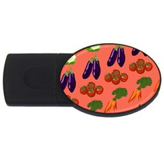 Vegetable Carrot Tomato Pumpkin Eggplant Usb Flash Drive Oval (4 Gb) by Mariart