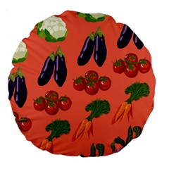 Vegetable Carrot Tomato Pumpkin Eggplant Large 18  Premium Round Cushions by Mariart