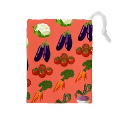 Vegetable Carrot Tomato Pumpkin Eggplant Drawstring Pouches (large)  by Mariart