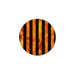 Stripes1 Black Marble & Fire Golf Ball Marker by trendistuff