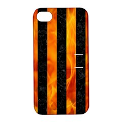 Stripes1 Black Marble & Fire Apple Iphone 4/4s Hardshell Case With Stand by trendistuff