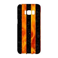 Stripes1 Black Marble & Fire Samsung Galaxy S8 Hardshell Case  by trendistuff