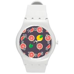 Wild Textures Grapefruits Pattern Lime Orange Round Plastic Sport Watch (m) by Mariart