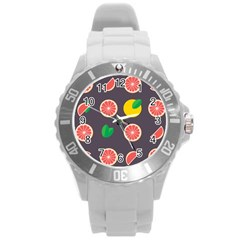 Wild Textures Grapefruits Pattern Lime Orange Round Plastic Sport Watch (l) by Mariart