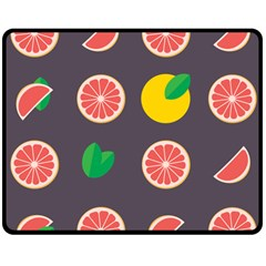 Wild Textures Grapefruits Pattern Lime Orange Double Sided Fleece Blanket (medium)  by Mariart