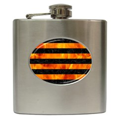Stripes2 Black Marble & Fire Hip Flask (6 Oz) by trendistuff