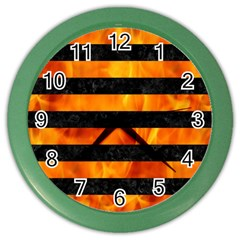Stripes2 Black Marble & Fire Color Wall Clocks by trendistuff