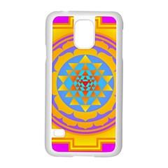 Triangle Orange Pink Samsung Galaxy S5 Case (white) by Mariart