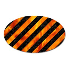 Stripes3 Black Marble & Fire Oval Magnet by trendistuff