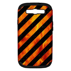 Stripes3 Black Marble & Fire Samsung Galaxy S Iii Hardshell Case (pc+silicone) by trendistuff