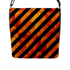 Stripes3 Black Marble & Fire Flap Messenger Bag (l)  by trendistuff
