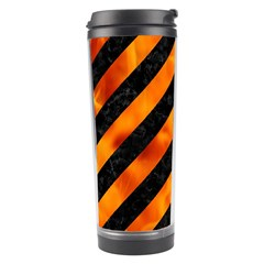 Stripes3 Black Marble & Fire Travel Tumbler by trendistuff