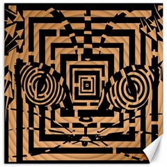 Wooden Cat Face Line Arrow Mask Plaid Canvas 16  X 16   by Mariart