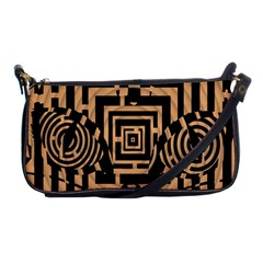 Wooden Cat Face Line Arrow Mask Plaid Shoulder Clutch Bags by Mariart