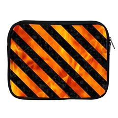 Stripes3 Black Marble & Fire (r) Apple Ipad 2/3/4 Zipper Cases by trendistuff