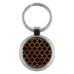 Tile1 Black Marble & Fire Key Chains (round)  by trendistuff