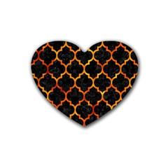 Tile1 Black Marble & Fire Rubber Coaster (heart)  by trendistuff