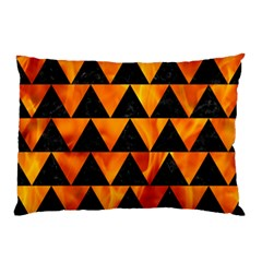 Triangle2 Black Marble & Fire Pillow Case by trendistuff