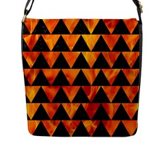 Triangle2 Black Marble & Fire Flap Messenger Bag (l)  by trendistuff