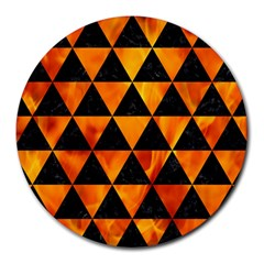 Triangle3 Black Marble & Fire Round Mousepads by trendistuff