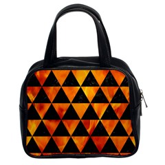Triangle3 Black Marble & Fire Classic Handbags (2 Sides) by trendistuff