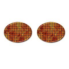 Woven1 Black Marble & Fire (r) Cufflinks (oval) by trendistuff