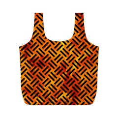 Woven2 Black Marble & Fire (r) Full Print Recycle Bags (m)  by trendistuff