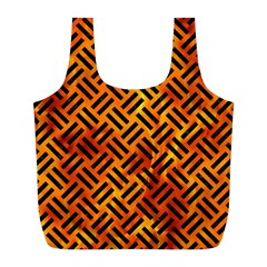 Woven2 Black Marble & Fire (r) Full Print Recycle Bags (l)  by trendistuff