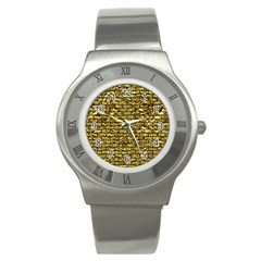 Brick1 Black Marble & Gold Foil (r) Stainless Steel Watch by trendistuff