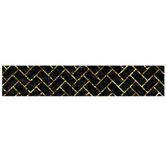Brick2 Black Marble & Gold Foil Flano Scarf (large) by trendistuff
