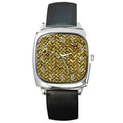 Brick2 Black Marble & Gold Foil (r) Square Metal Watch by trendistuff