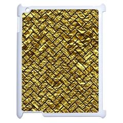 Brick2 Black Marble & Gold Foil (r) Apple Ipad 2 Case (white) by trendistuff