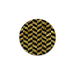 Chevron1 Black Marble & Gold Foil Golf Ball Marker by trendistuff