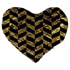 Chevron1 Black Marble & Gold Foil Large 19  Premium Flano Heart Shape Cushions by trendistuff