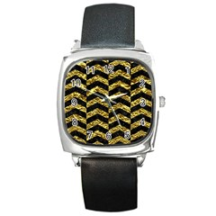 Chevron2 Black Marble & Gold Foil Square Metal Watch by trendistuff