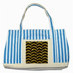 Chevron2 Black Marble & Gold Foil Striped Blue Tote Bag by trendistuff
