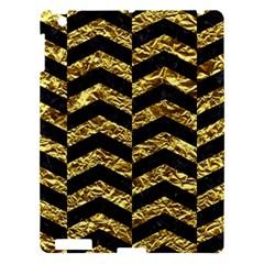 Chevron2 Black Marble & Gold Foil Apple Ipad 3/4 Hardshell Case by trendistuff