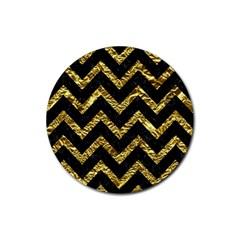 Chevron9 Black Marble & Gold Foil Rubber Coaster (round)  by trendistuff
