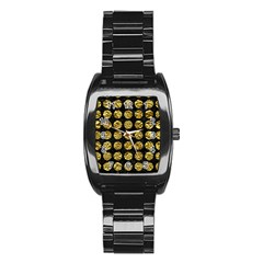 Circles1 Black Marble & Gold Foil Stainless Steel Barrel Watch by trendistuff