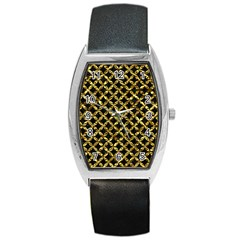 Circles3 Black Marble & Gold Foil Barrel Style Metal Watch by trendistuff