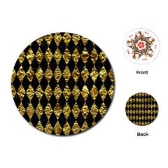 Diamond1 Black Marble & Gold Foil Playing Cards (round)  by trendistuff