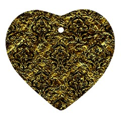 Damask1 Black Marble & Gold Foil (r) Ornament (heart) by trendistuff