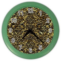 Damask2 Black Marble & Gold Foil (r) Color Wall Clocks by trendistuff