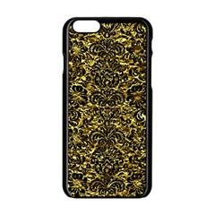Damask2 Black Marble & Gold Foil (r) Apple Iphone 6/6s Black Enamel Case by trendistuff