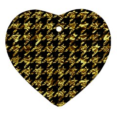 Houndstooth1 Black Marble & Gold Foil Heart Ornament (two Sides) by trendistuff